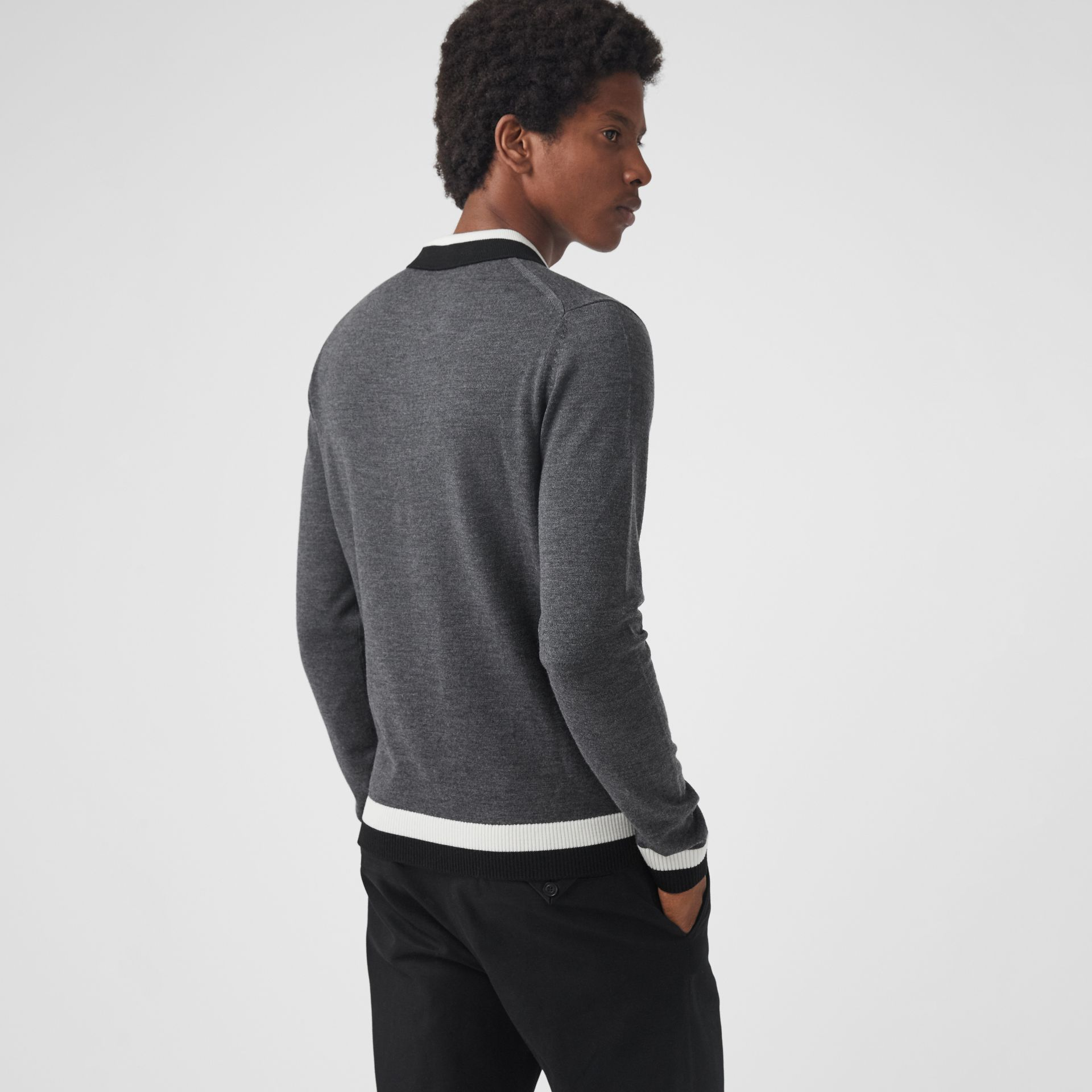 Stripe Detail Merino Wool Long-sleeve Polo Shirt in Dark Grey Melange - Men | Burberry Australia - gallery image 2