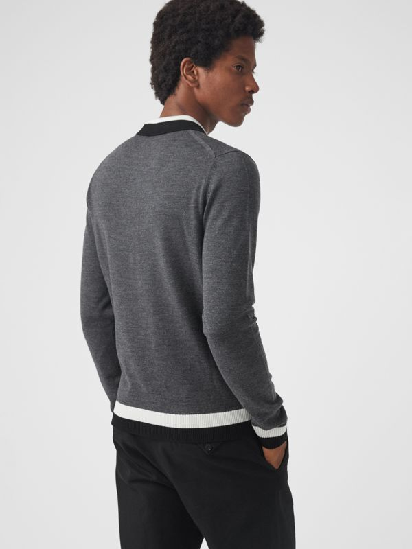 Stripe Detail Merino Wool Long-sleeve Polo Shirt in Dark Grey Melange - Men | Burberry - cell image 2