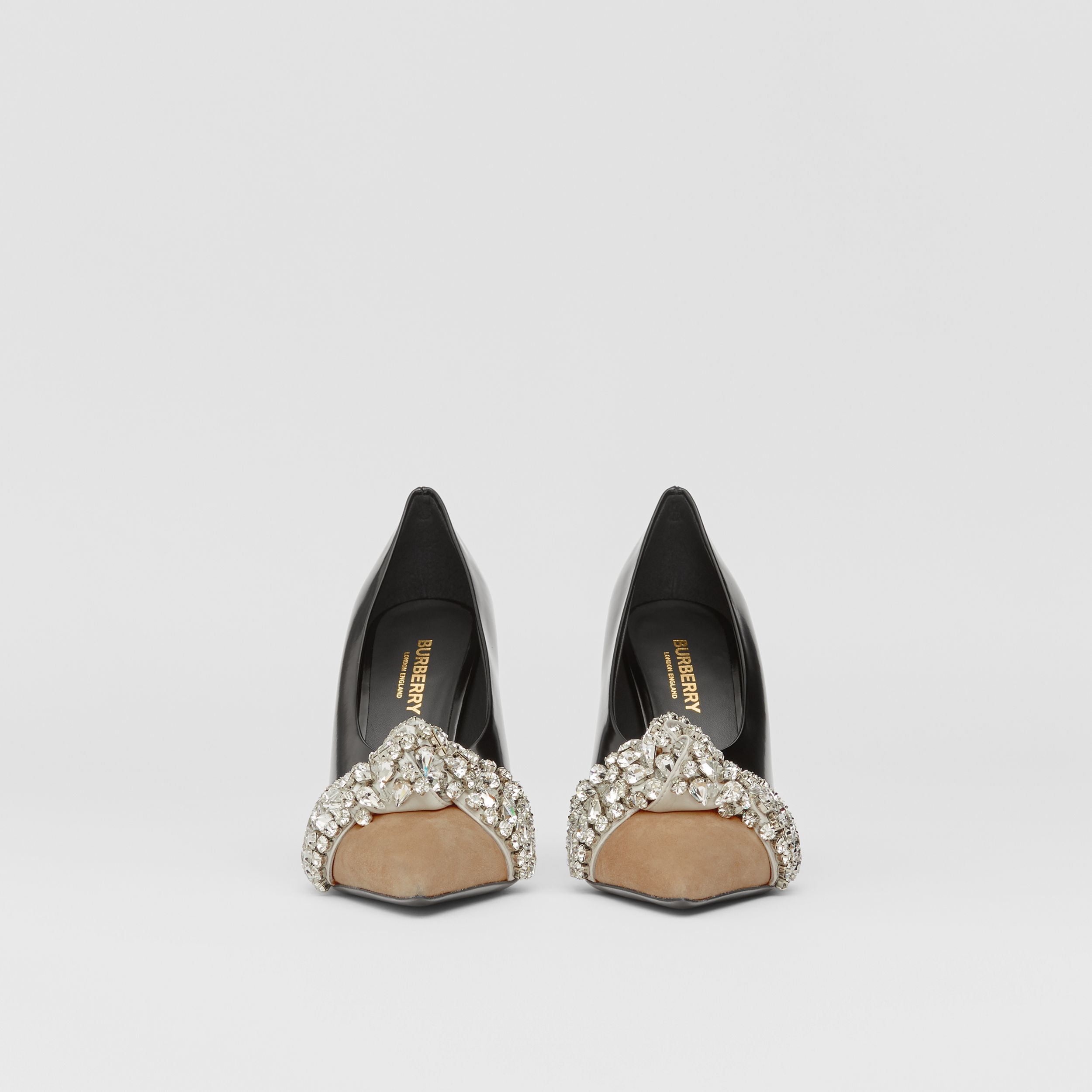 Crystal Detail Leather and Suede Point-toe Pumps in Black - Women | Burberry - 4