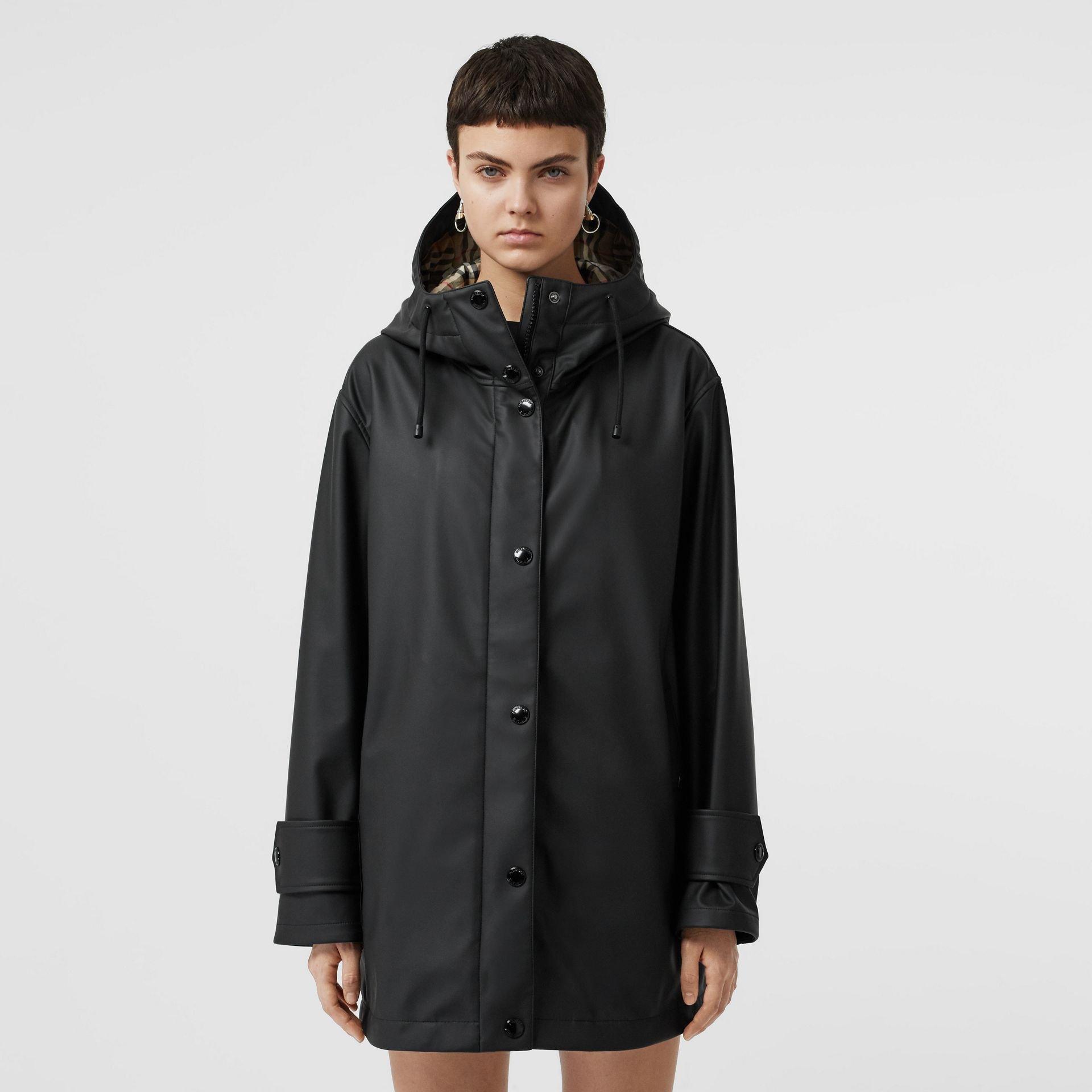Logo Print Rubberised Hooded Coat in Black/white - Women | Burberry - gallery image 4