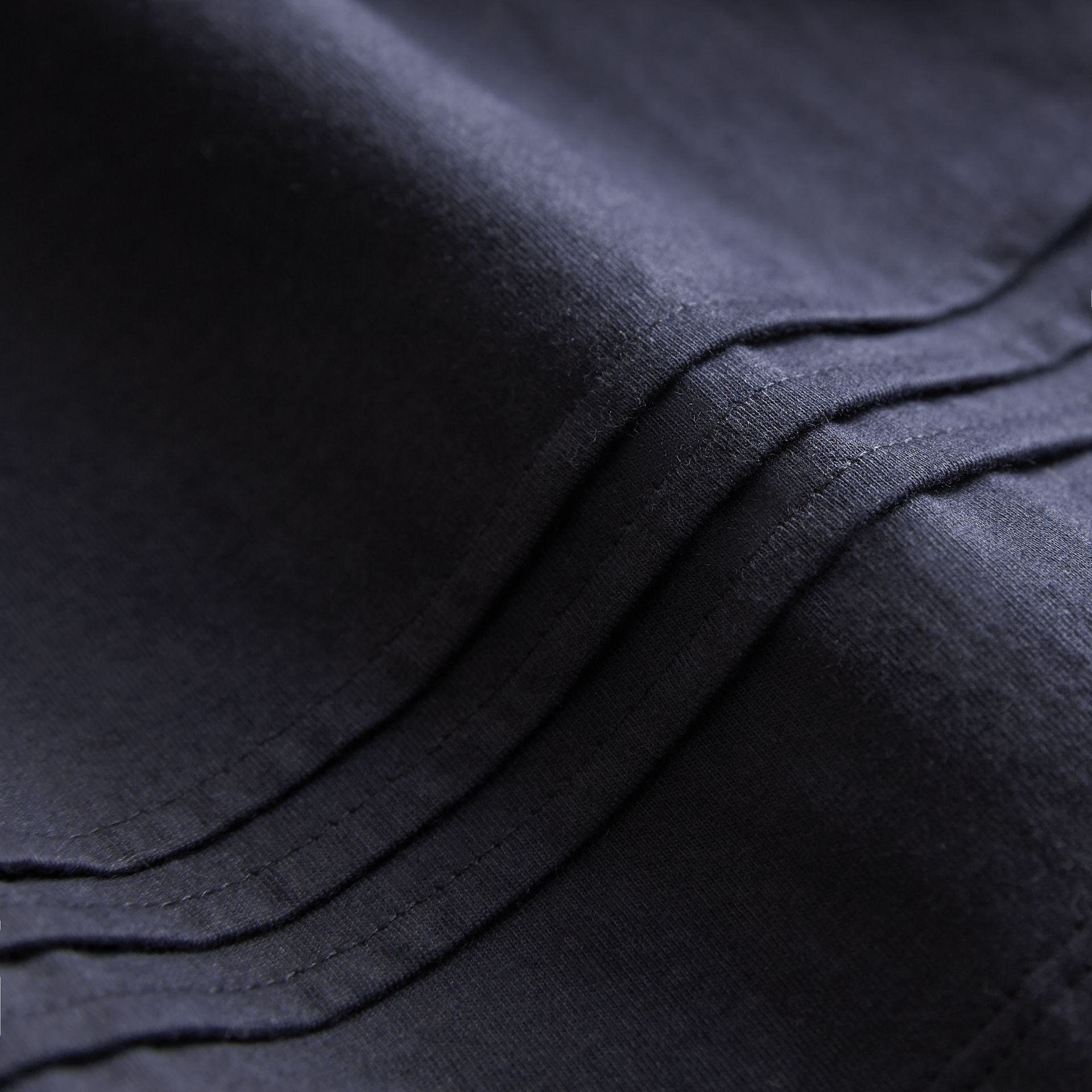 Pleat and Check Detail Cotton T-shirt in Navy - Girl | Burberry - gallery image 2