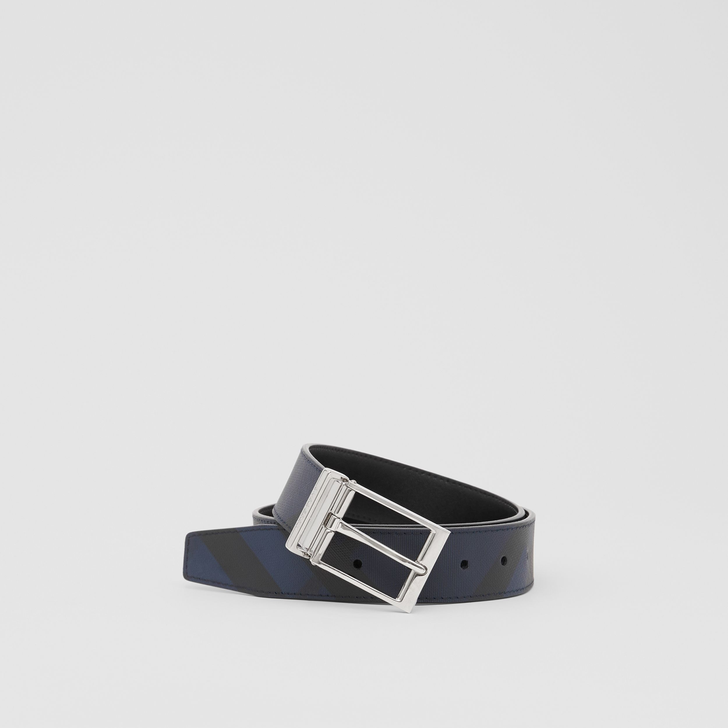 Reversible London Check and Leather Belt in Navy/black - Men | Burberry - 1