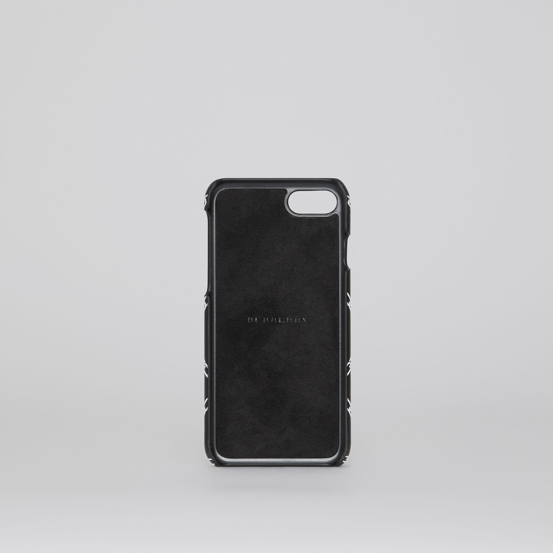 Link Print Leather iPhone 8 Case in Black | Burberry - gallery image 2