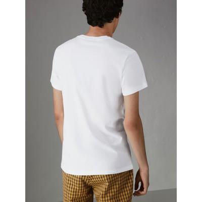 Blanc en avec Burberry Homme brodé T logo d archive shirt coton wTq07vS7F d9808870ece1