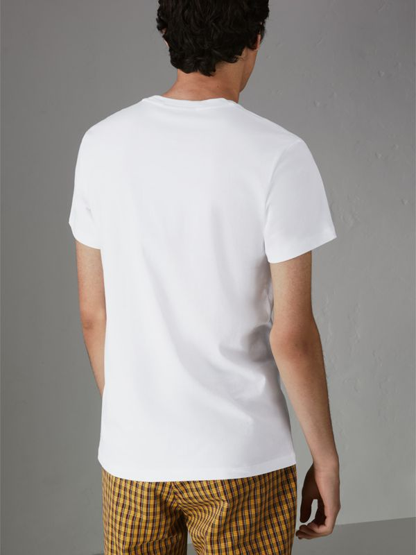 Embroidered Archive Logo Cotton T-shirt in White - Men | Burberry - cell image 2