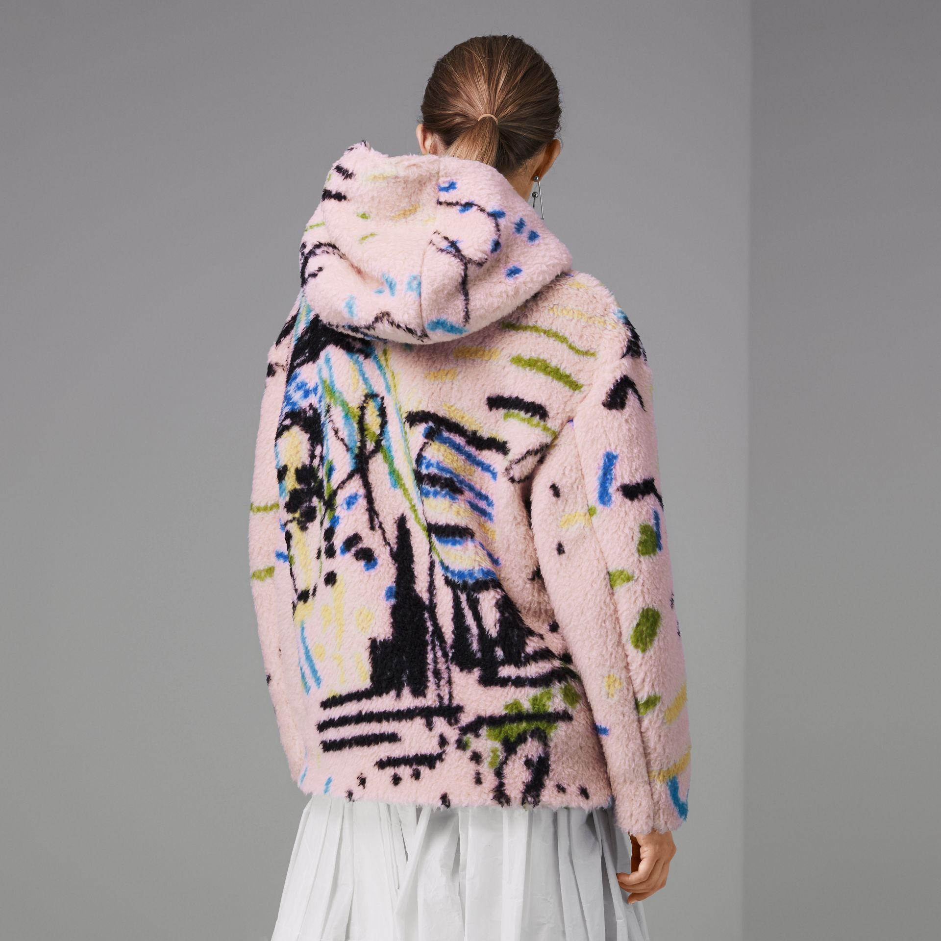 Graffiti Print Cashmere Silk Fleece Hoodie in Pale Rose - Women | Burberry - gallery image 2