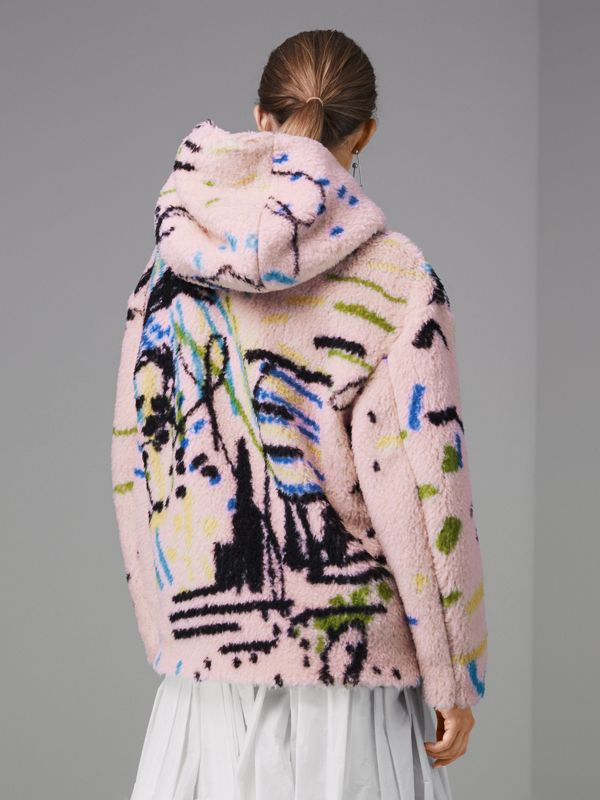 Graffiti Print Cashmere Silk Fleece Hoodie in Pale Rose - Women | Burberry Hong Kong - cell image 2