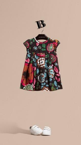 Floral Print Cotton Silk Dress