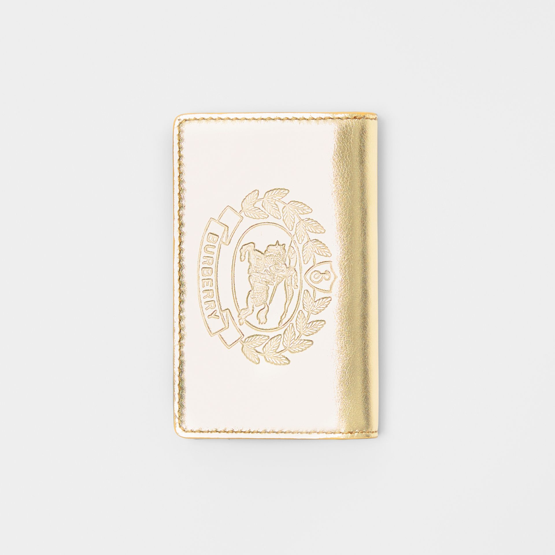 Small Embossed Crest Metallic Leather Wallet in Gold - Women | Burberry United Kingdom - gallery image 3