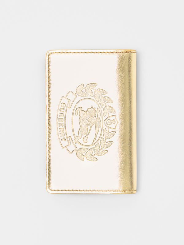 Small Embossed Crest Metallic Leather Wallet in Gold - Women | Burberry Singapore - cell image 3