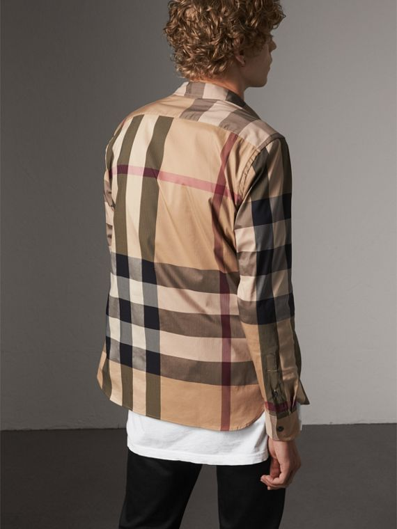 Button-down Collar Check Stretch Cotton Blend Shirt in Camel - Men | Burberry Canada - cell image 2