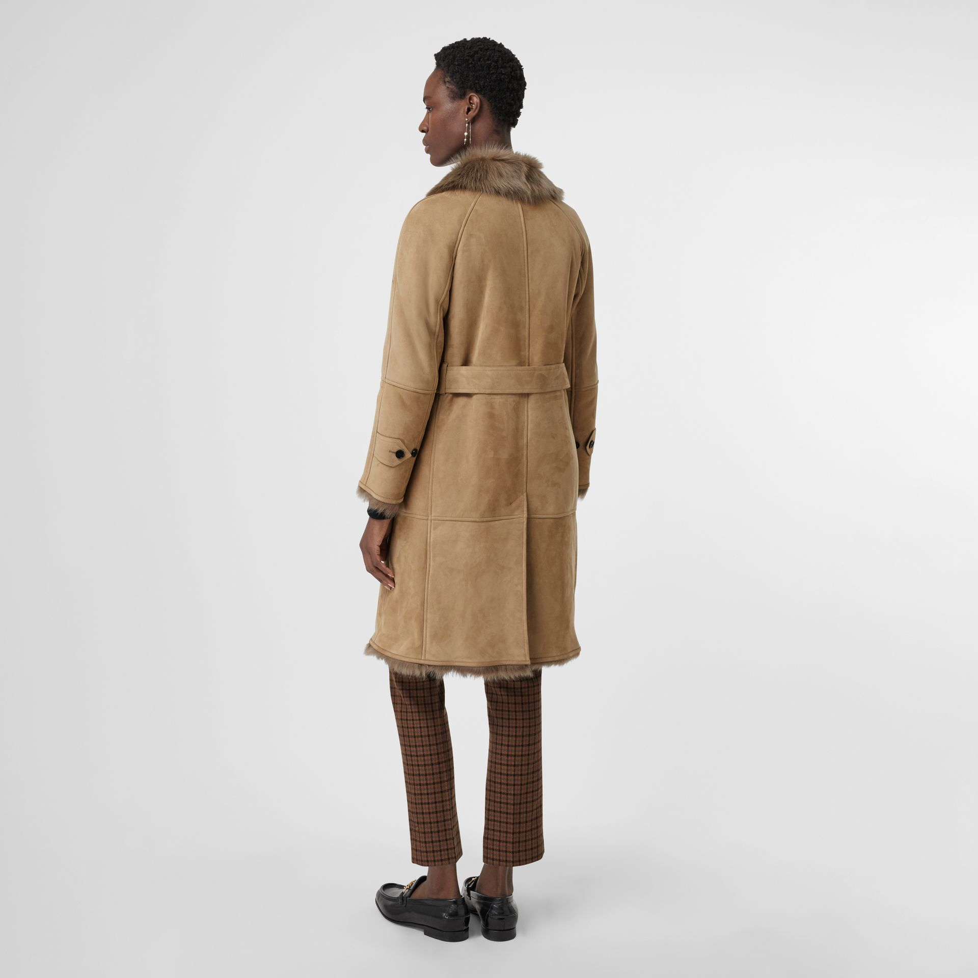 Shearling Car Coat in Camel - Women | Burberry - gallery image 2