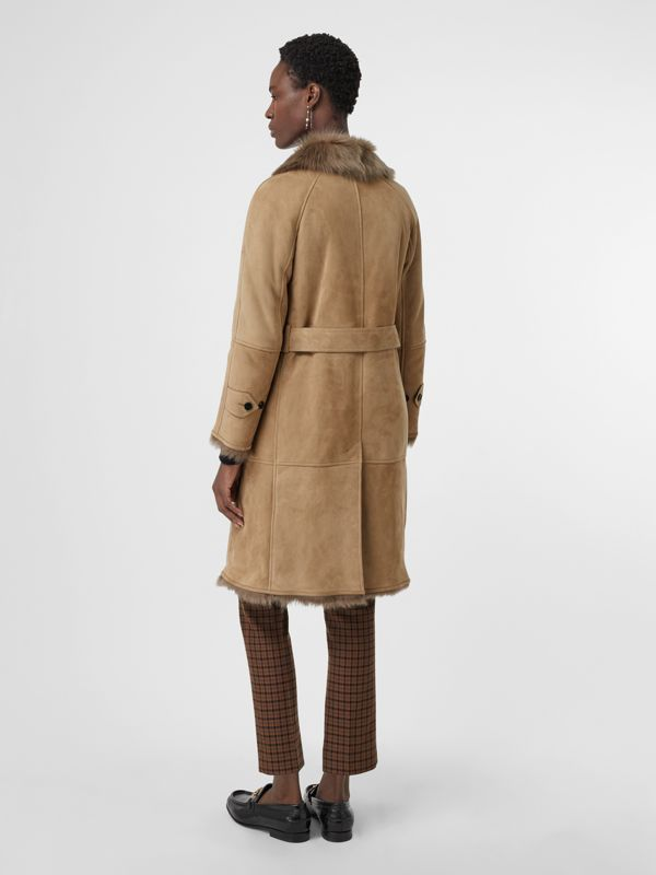 Shearling Car Coat in Camel - Women | Burberry - cell image 2