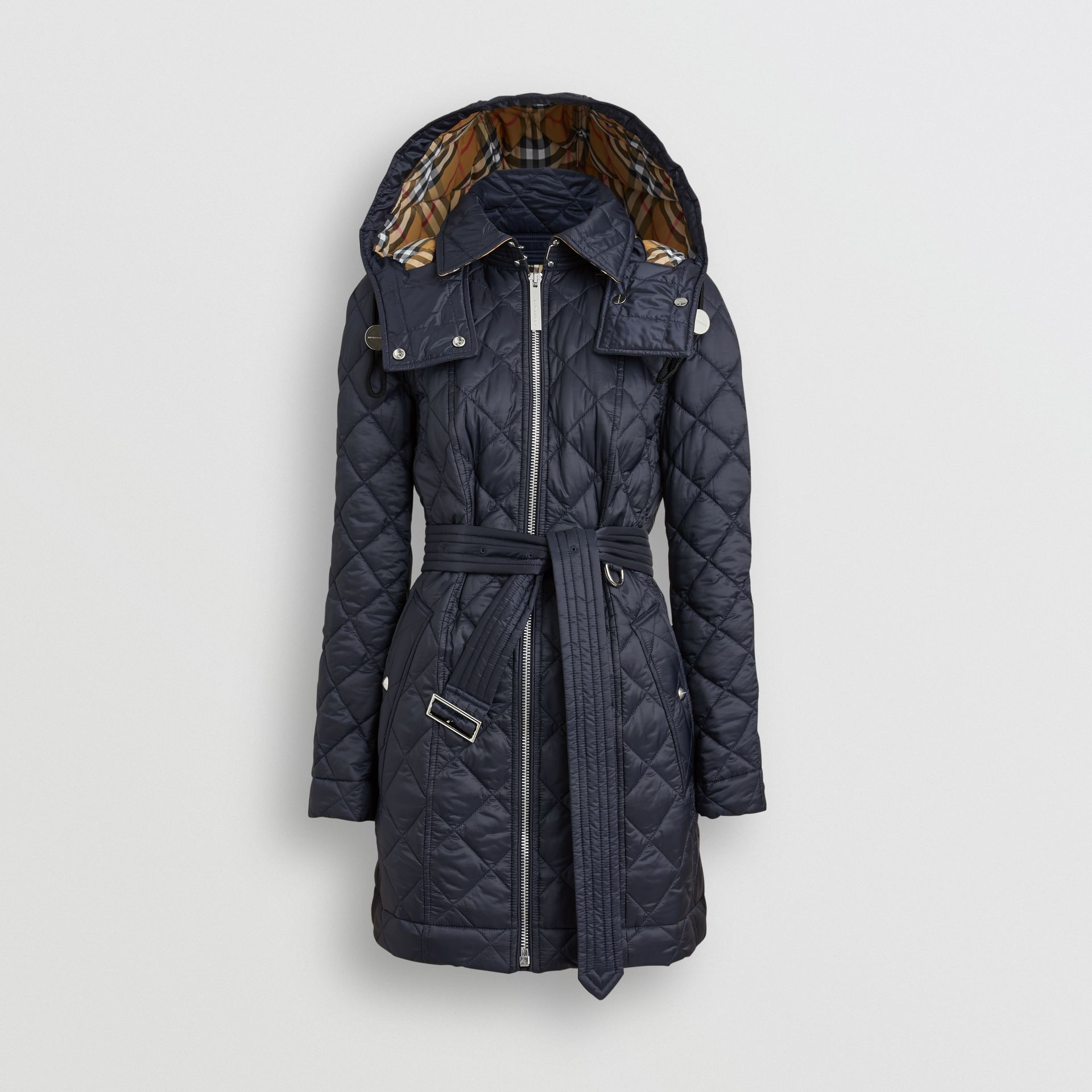 Detachable Hood Lightweight Diamond Quilted Coat in Ink - Women | Burberry - gallery image 3