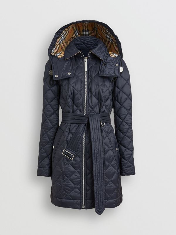 Detachable Hood Lightweight Diamond Quilted Coat in Ink - Women | Burberry United States - cell image 3