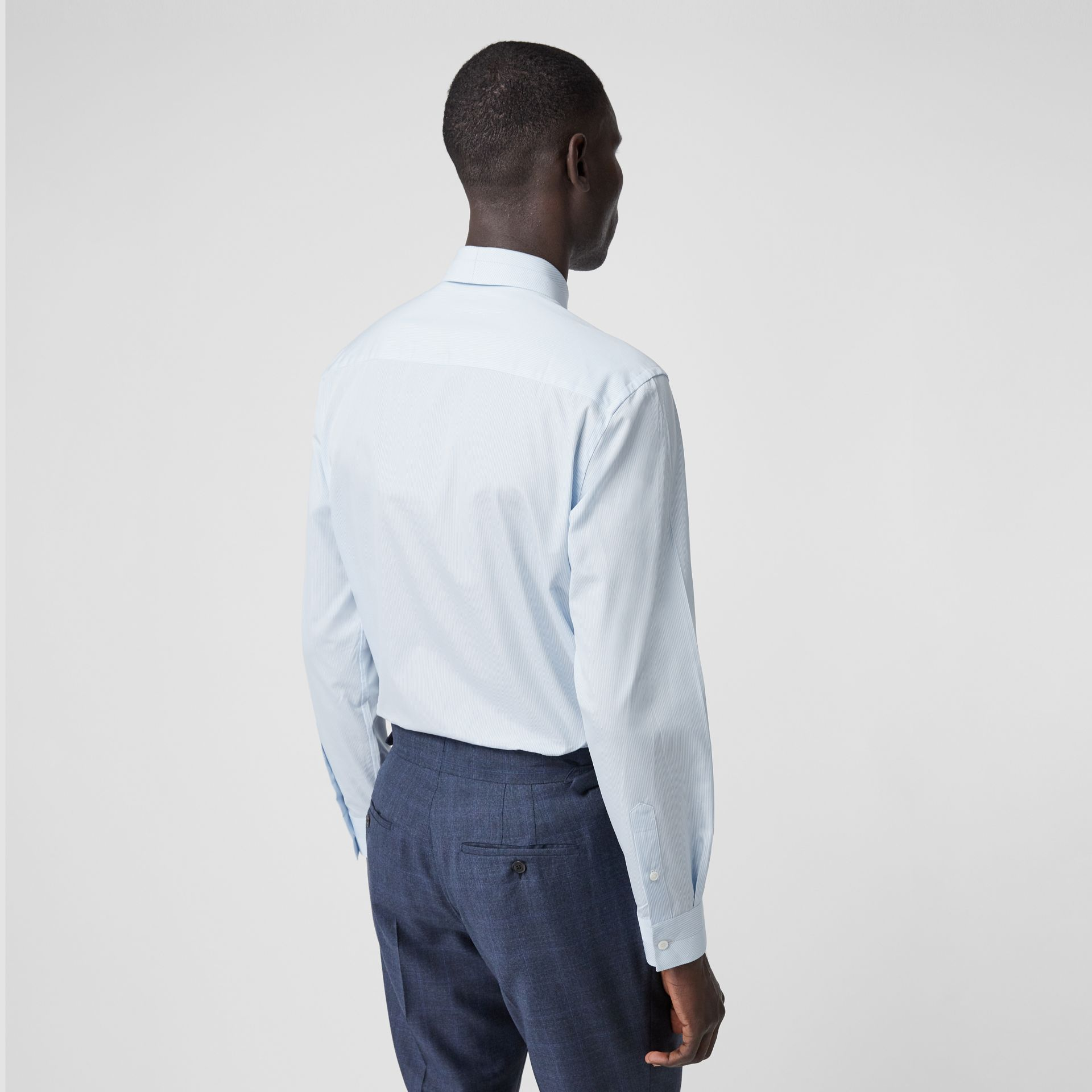 Classic Fit Striped Cotton Poplin Dress Shirt in Pale Blue - Men | Burberry - gallery image 2