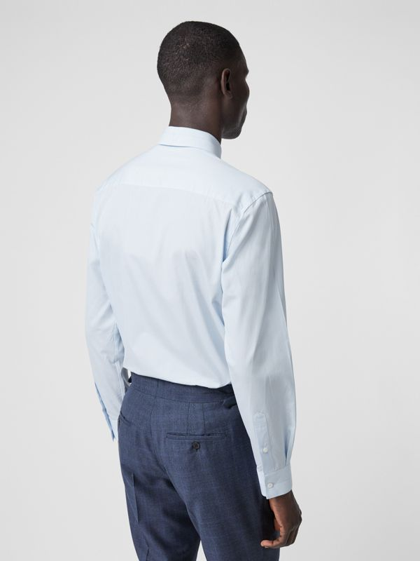 Classic Fit Striped Cotton Poplin Dress Shirt in Pale Blue - Men | Burberry - cell image 2