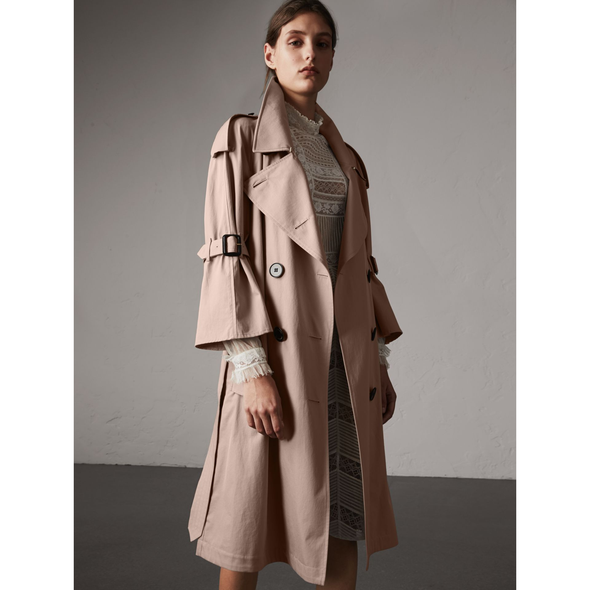 Flared Sleeve Tropical Gabardine Trench Coat - gallery image 7