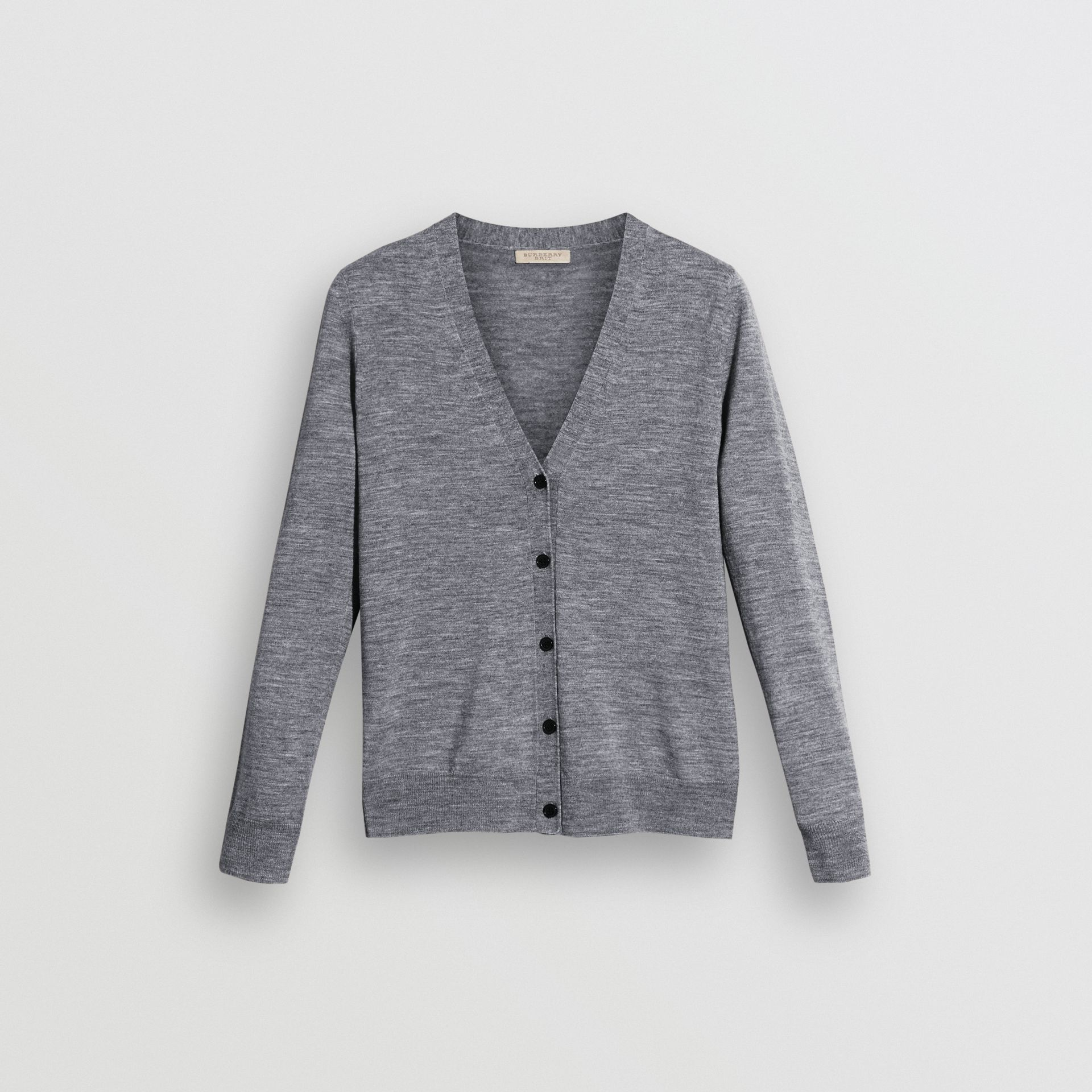 Check Detail Merino Wool Cardigan in Mid Grey Melange - Women | Burberry United States - gallery image 3