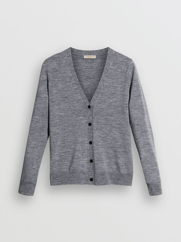 Check Detail Merino Wool Cardigan in Mid Grey Melange - Women | Burberry United States - cell image 3