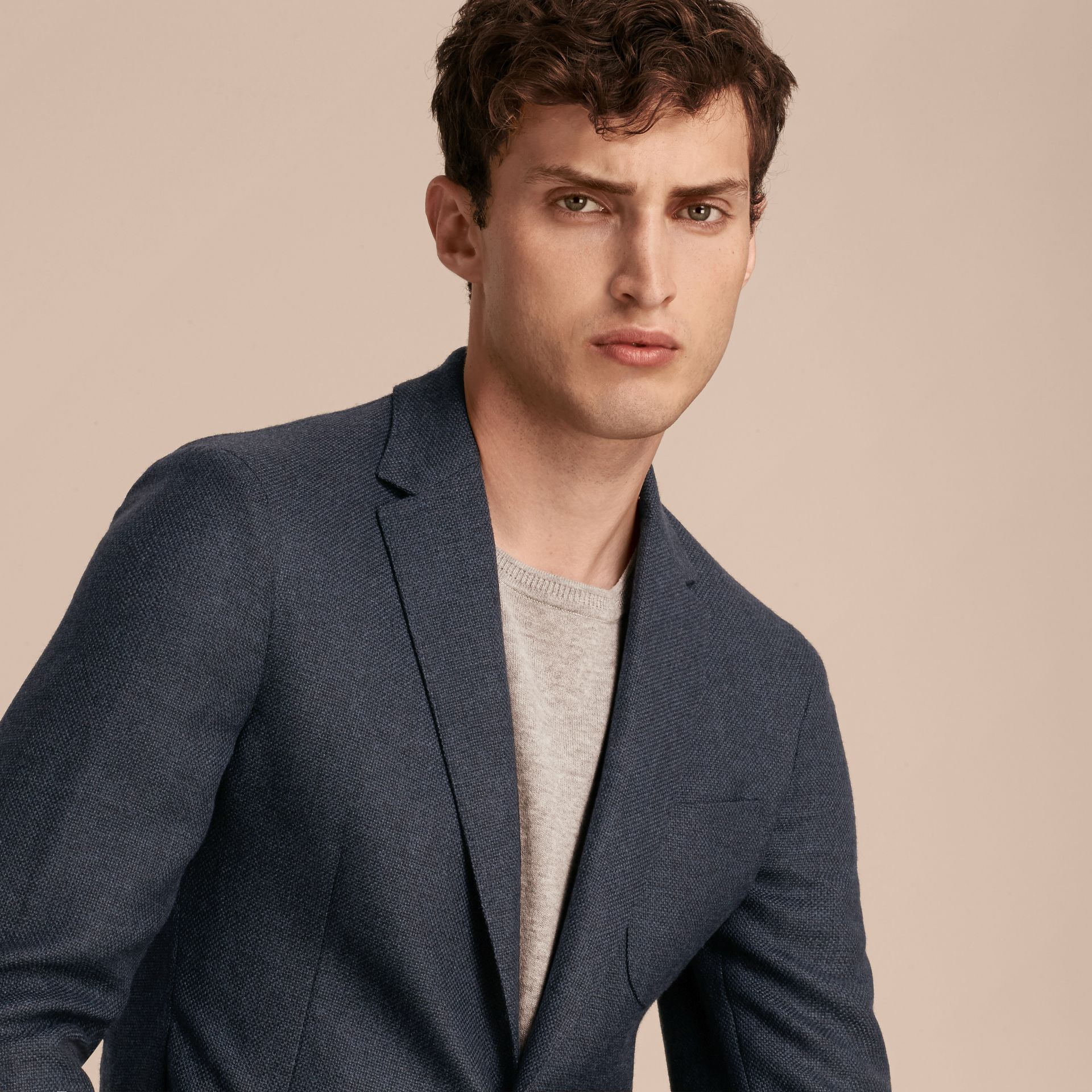 Storm blue Modern Fit Wool Cashmere Hopsack Tailored Jacket - gallery image 5