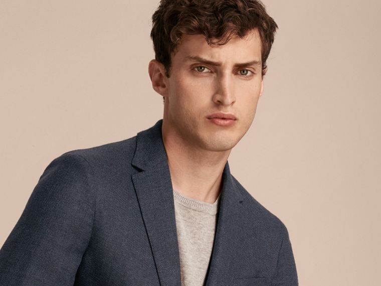 Storm blue Modern Fit Wool Cashmere Hopsack Tailored Jacket - cell image 4