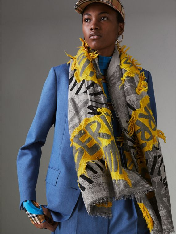 Graffiti Print Fil Coupé Cotton Wool Modal Scarf in Bright Yellow