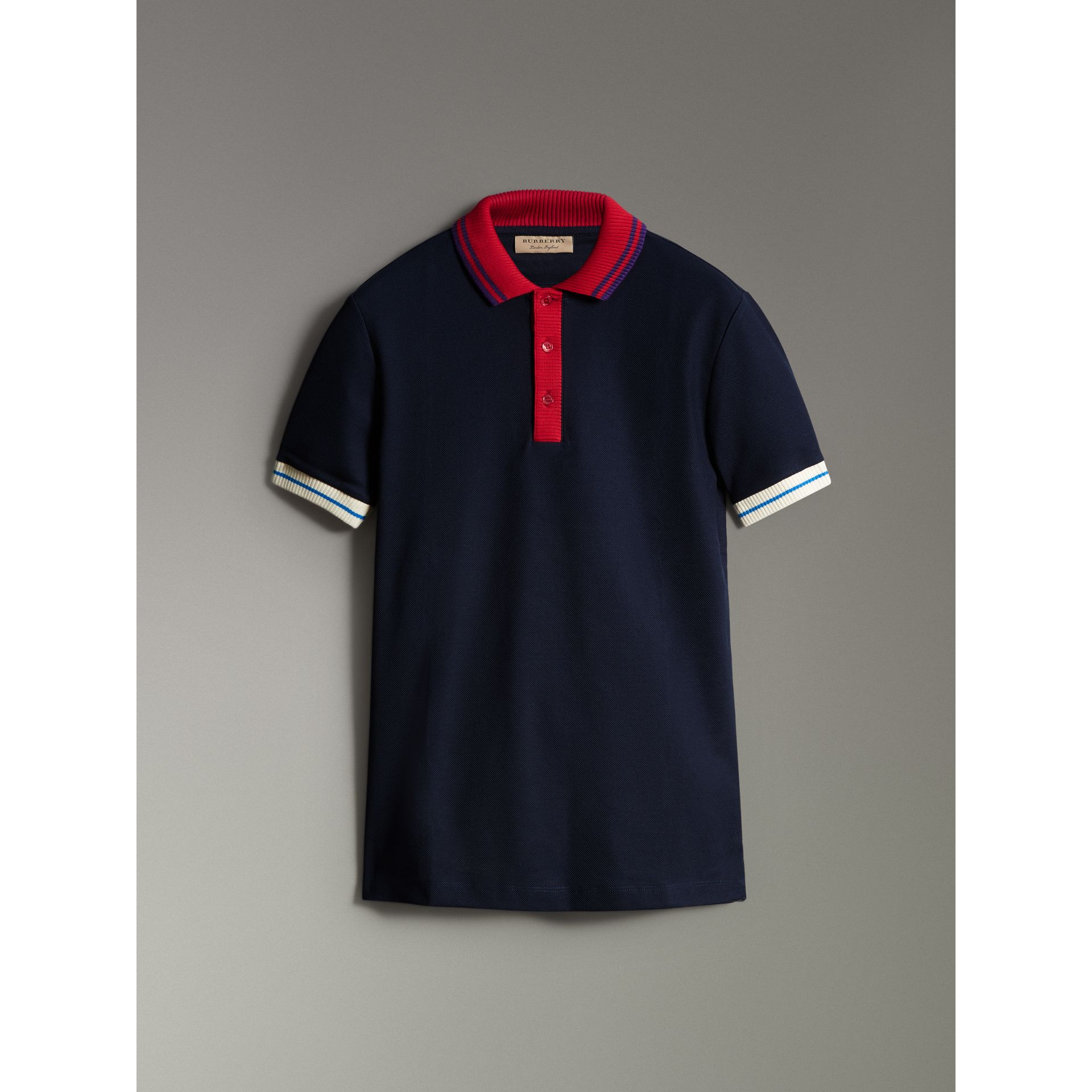 Two-tone Stripe Knitted Detail Cotton Polo Shirt in Navy - Men | Burberry - gallery image 3