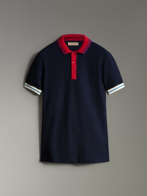 Two-tone Stripe Knitted Detail Cotton Polo Shirt in Navy - Men | Burberry - cell image 3