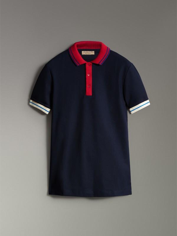 Polo en coton à détails rayés et côtelés bicolores (Marine) - Homme | Burberry - cell image 3