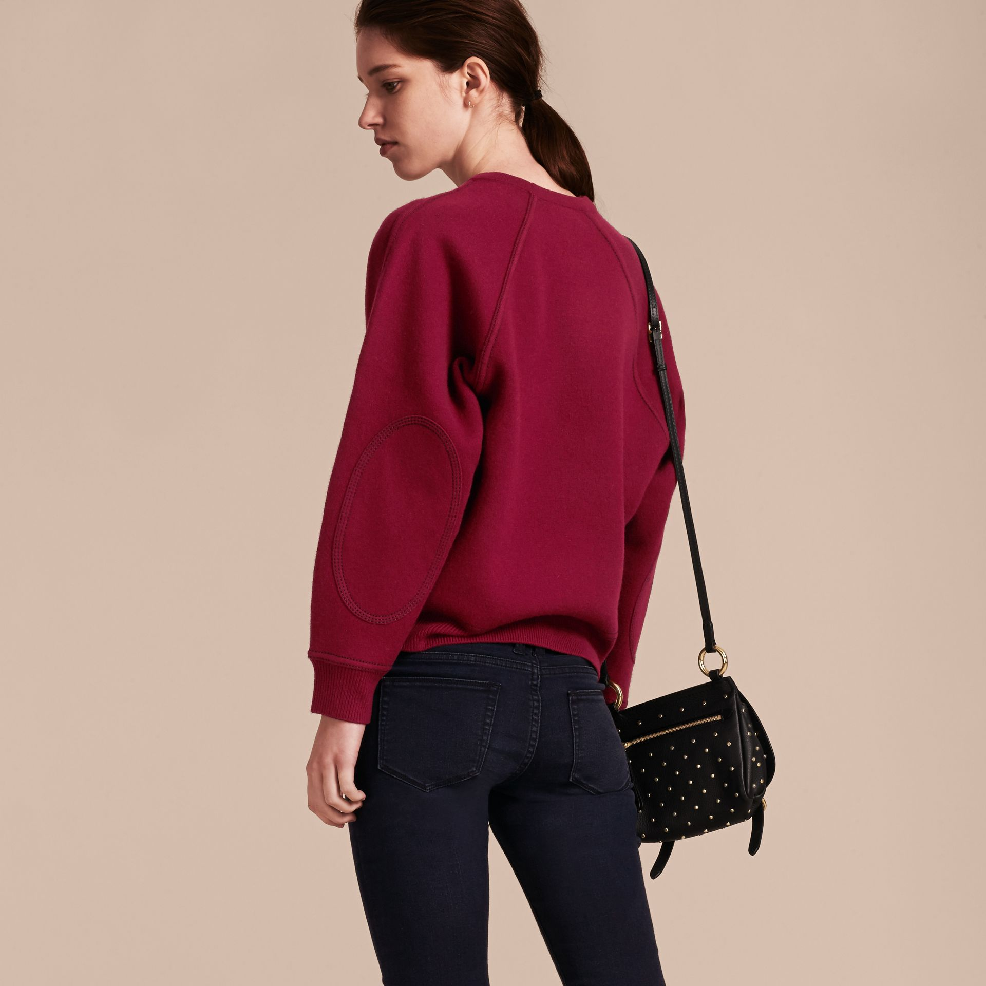 Topstitch Detail Wool Cashmere Blend Sweatshirt Burgundy - gallery image 3
