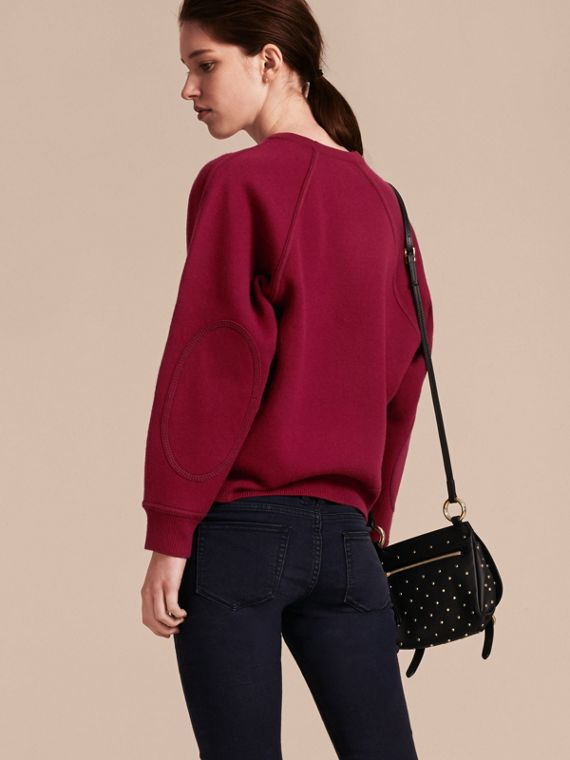 Topstitch Detail Wool Cashmere Blend Sweater in Burgundy - Women | Burberry Singapore - cell image 2