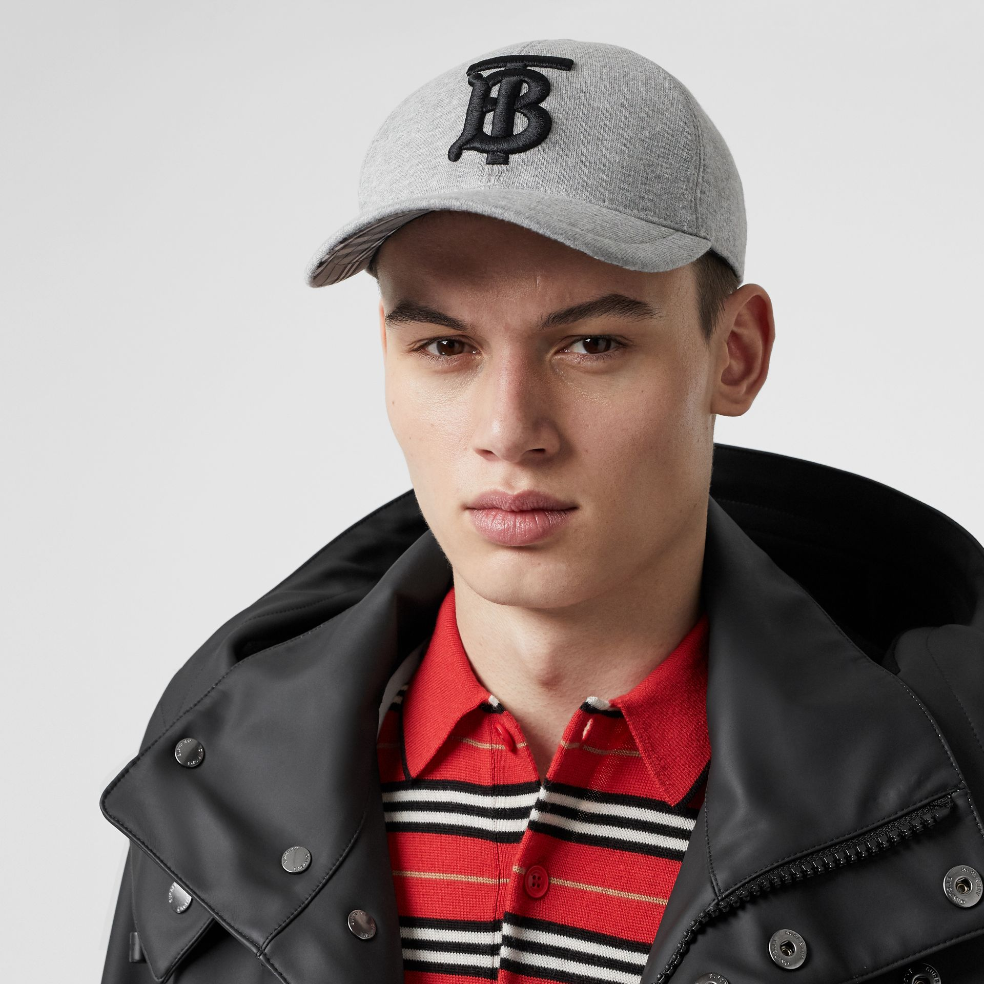 Monogram Motif Baseball Cap in Light Grey Melange | Burberry - gallery image 3