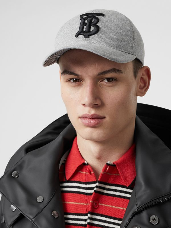 Monogram Motif Baseball Cap in Light Grey Melange | Burberry United Kingdom - cell image 3