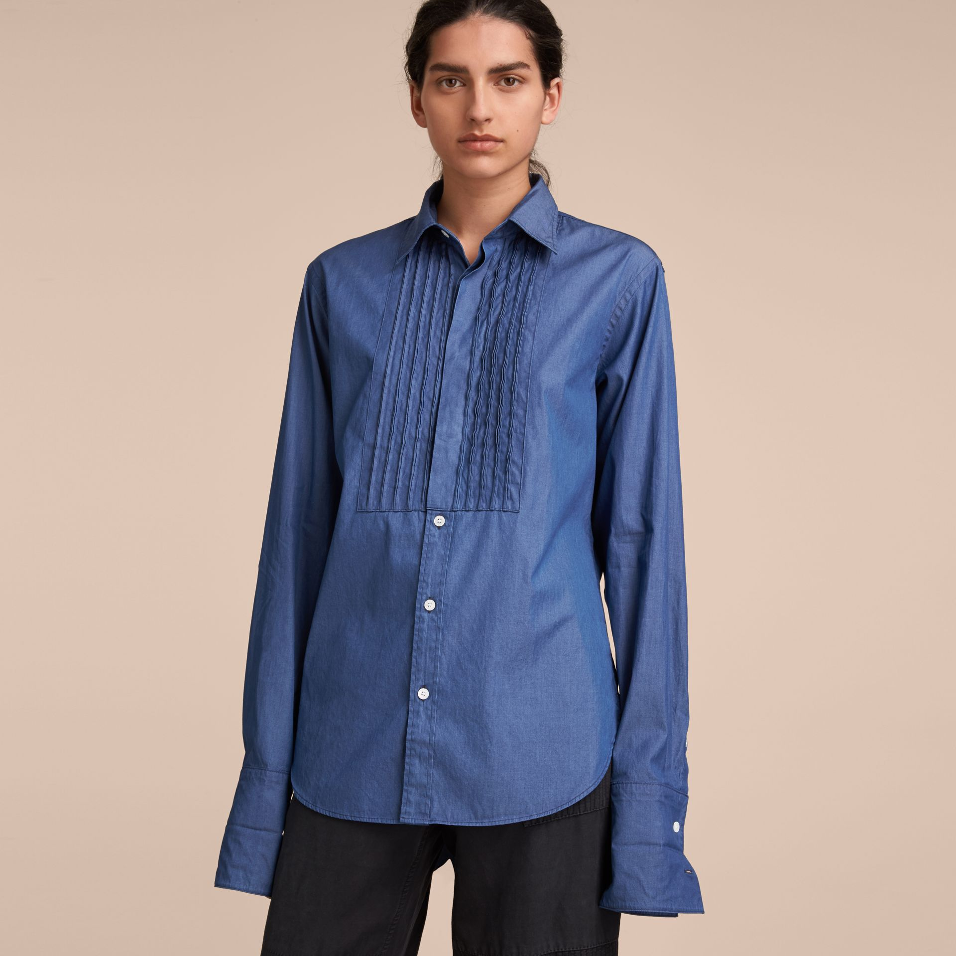 Unisex Double-cuff Pintuck Bib Cotton Shirt in Denim Blue - Women | Burberry Singapore - gallery image 6