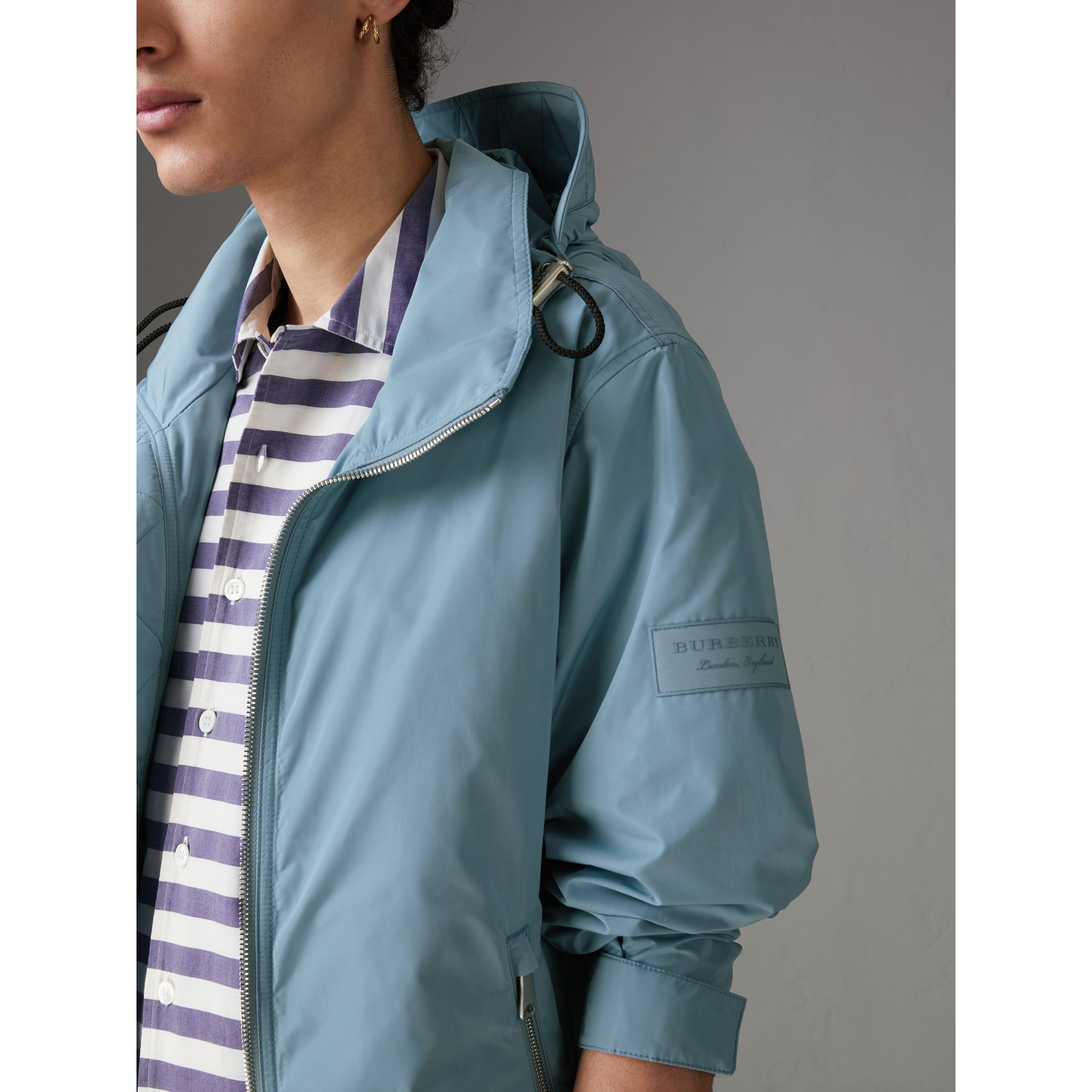 Packaway Hood Showerproof Jacket in Slate Blue - Men | Burberry Singapore - gallery image 1