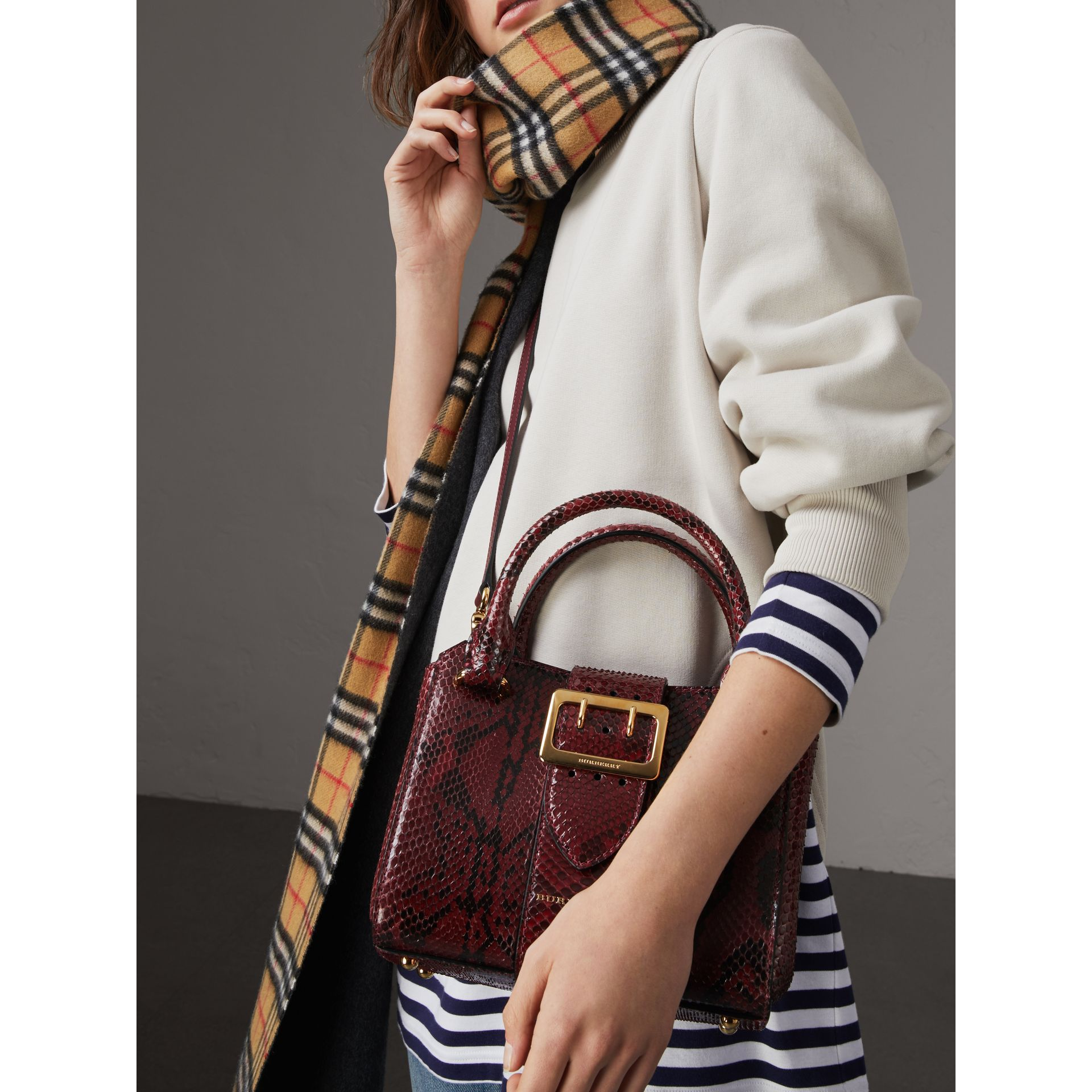 The Small Buckle Tote in Python in Burgundy Red - Women | Burberry United Kingdom - gallery image 2