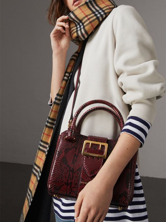 The Small Buckle Tote in Python in Burgundy Red - Women | Burberry United Kingdom - cell image 2