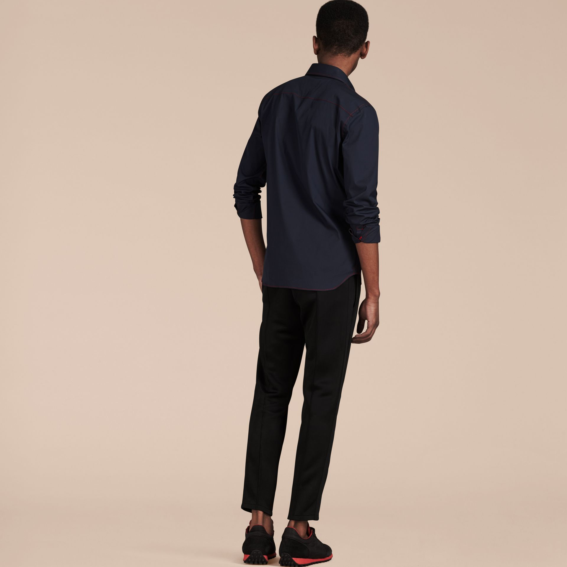 Navy Contrast Topstitch Stretch Cotton Shirt Navy - gallery image 3