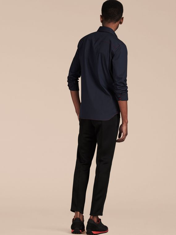 Navy Contrast Topstitch Stretch Cotton Shirt Navy - cell image 2