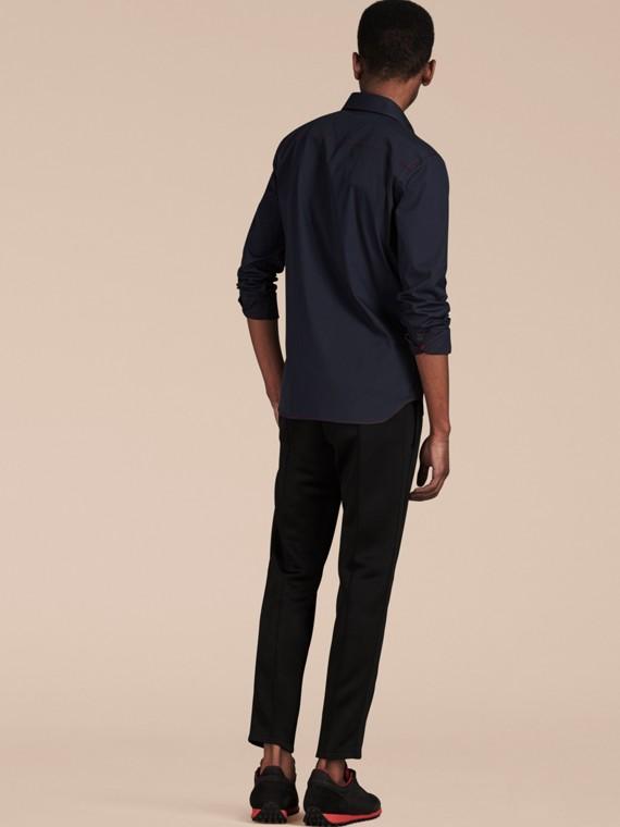 Темно-синий Рубашка с контрастной отстрочкой Темно-синий - cell image 2