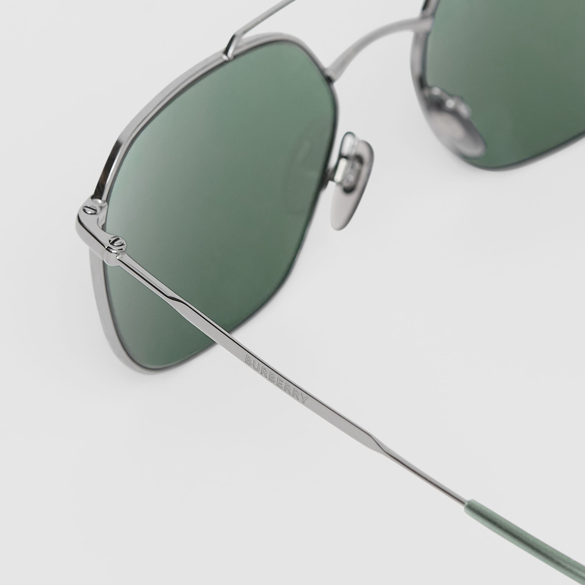 Top Bar Detail Square Pilot Sunglasses in Gunmetal Grey - Men | Burberry - gallery image 1