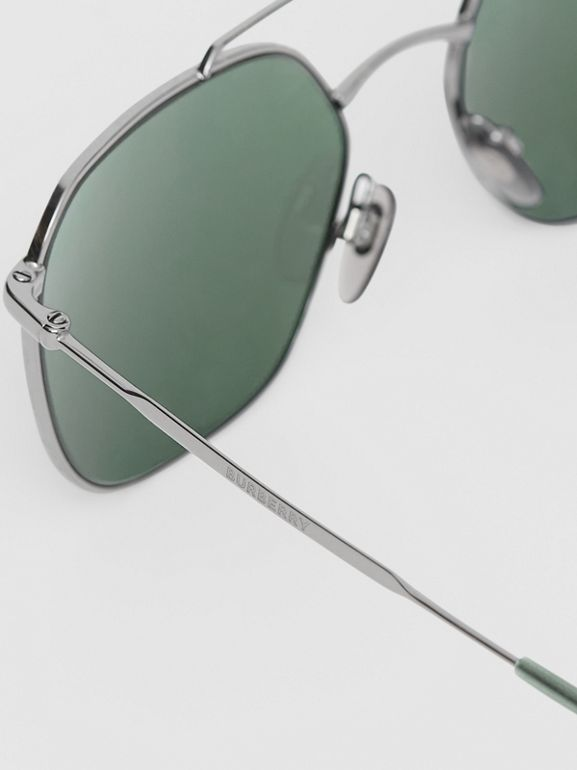 Top Bar Detail Square Pilot Sunglasses in Gunmetal Grey - Men | Burberry - cell image 1