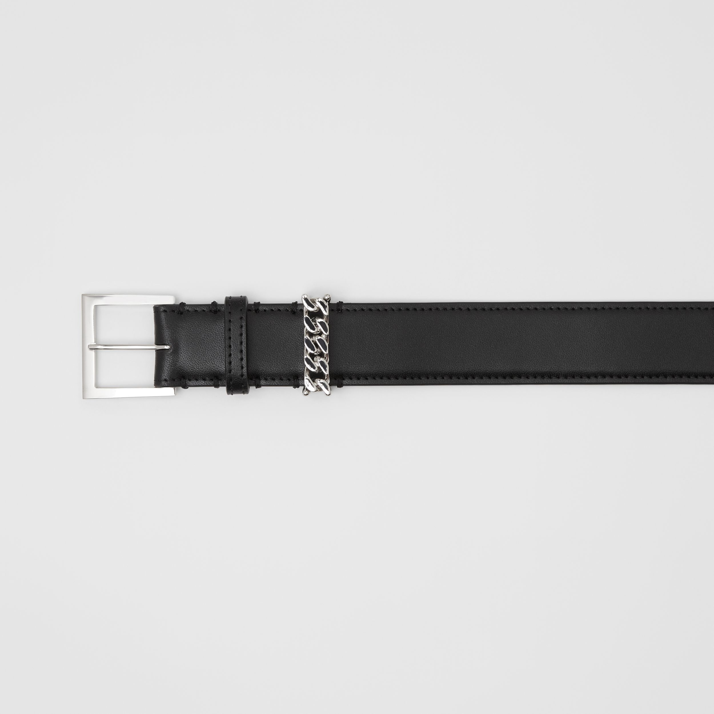 Chain Detail Leather Belt in Black/palladium | Burberry Singapore - 2