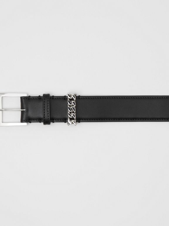 Chain Detail Leather Belt in Black/palladium - Women | Burberry United Kingdom - cell image 1