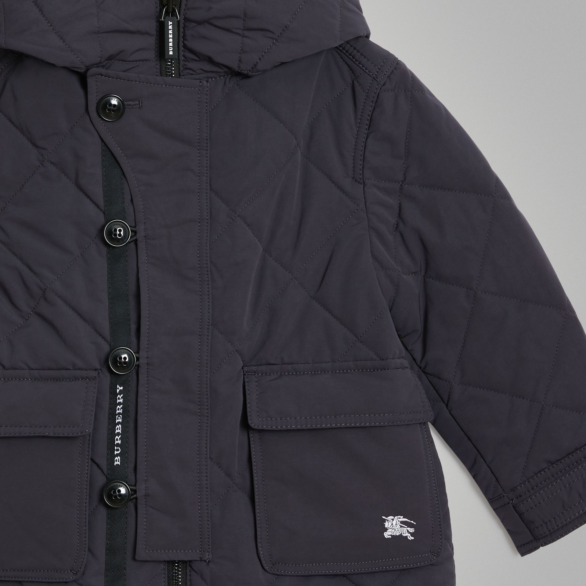 Diamond Quilted Hooded Jacket in Navy | Burberry - gallery image 4
