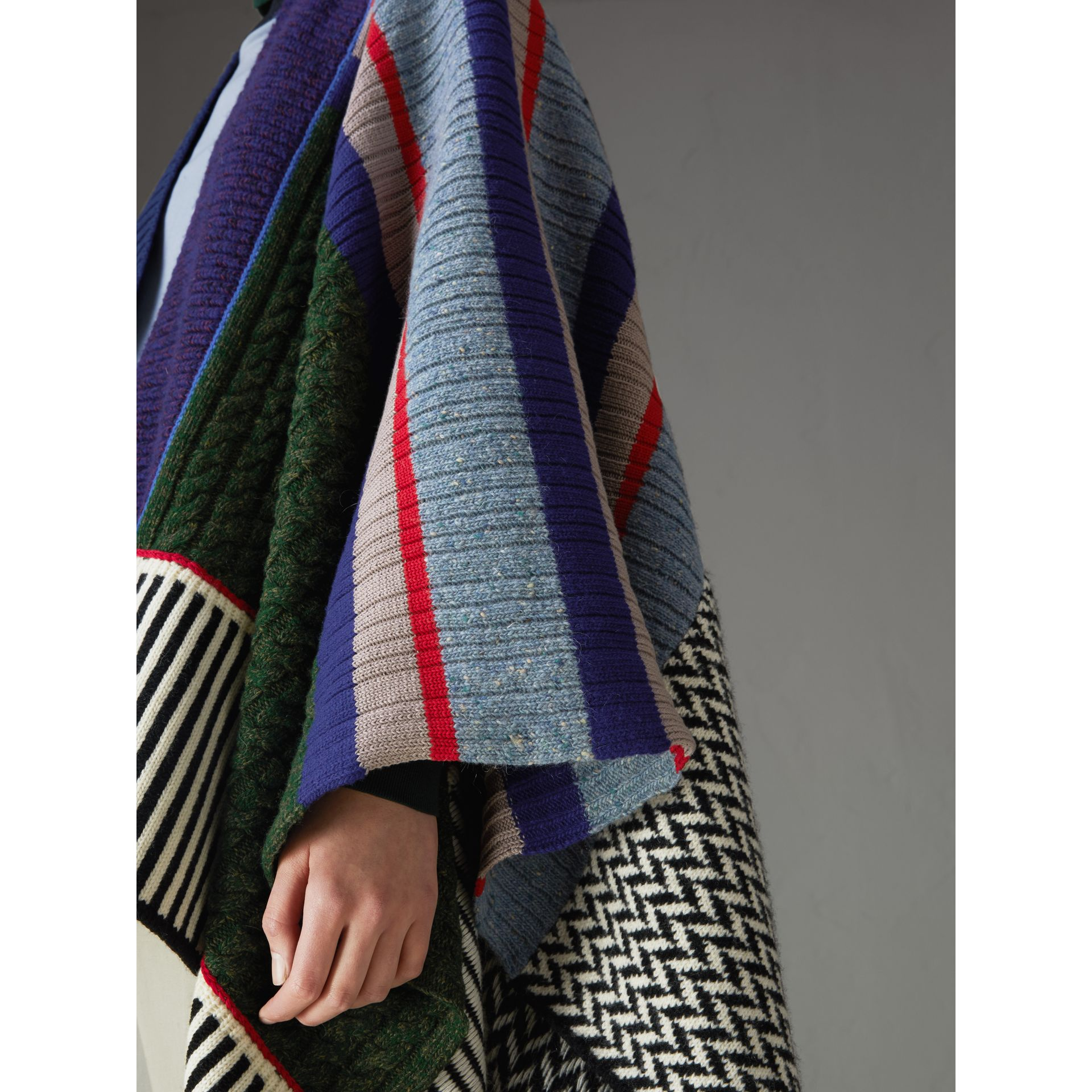 Wool Cashmere Blend Patchwork Poncho in Multicolour - Women | Burberry United Kingdom - gallery image 1