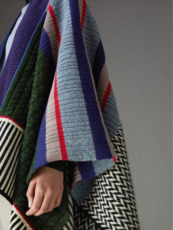 Wool Cashmere Blend Patchwork Poncho in Multicolour - Women | Burberry - cell image 1