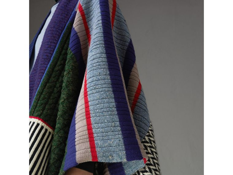 Wool Cashmere Blend Patchwork Poncho in Multicolour - Women | Burberry United States - cell image 1