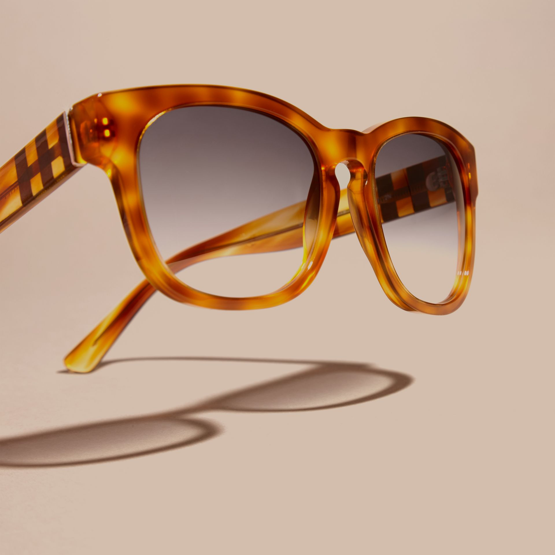 Light russet brown Check Detail Square Frame Sunglasses - gallery image 3